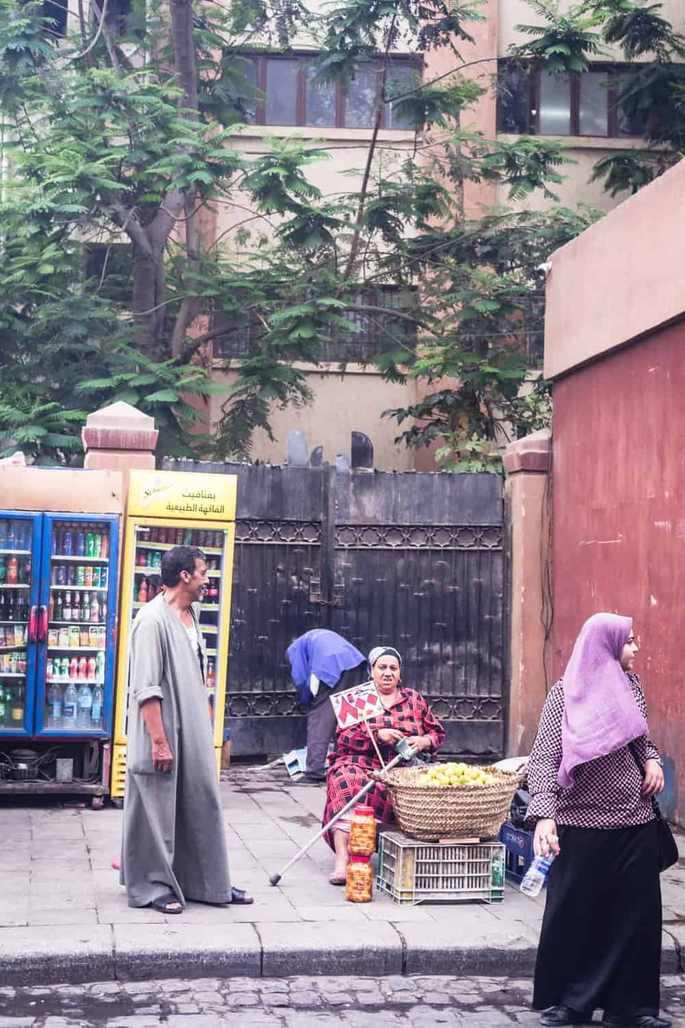 Woman selling fruit in Old Cairo.