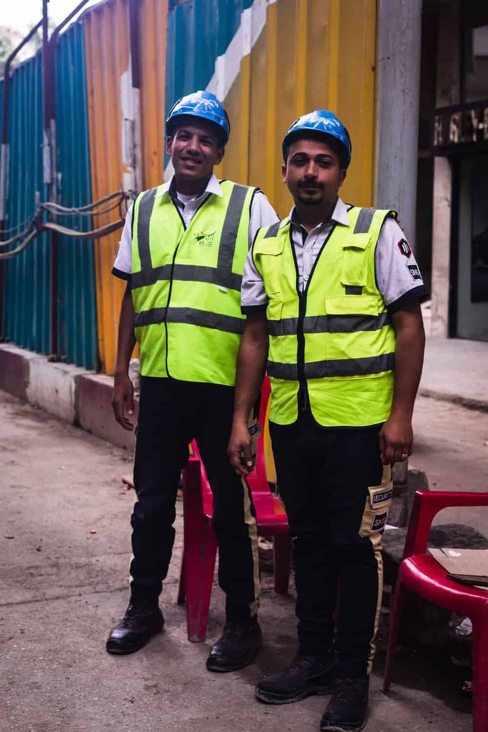 Portrait shot of 2 construction workers in Cairo.