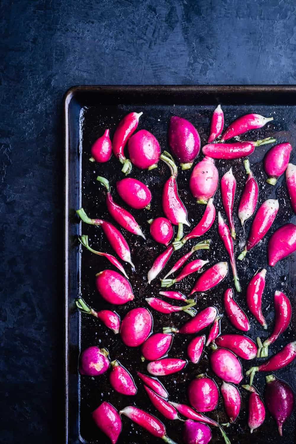 Fresh Peas & Radishes with Burrata Recipe | Waves in the Kitchen | Radishes ready to go into the oven and be roasted.