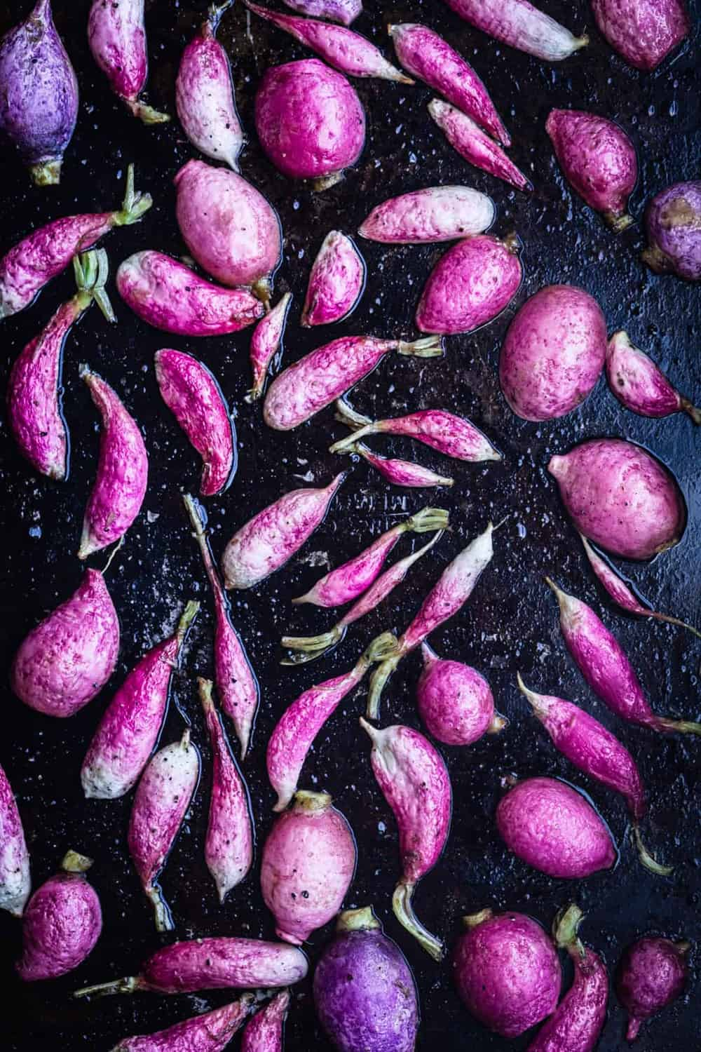 Radishes right out of the oven, close up and overhead shot.