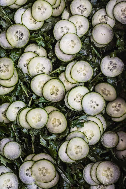 Plum & Mizuna Salad with Roasted Ginger Vinaigrette