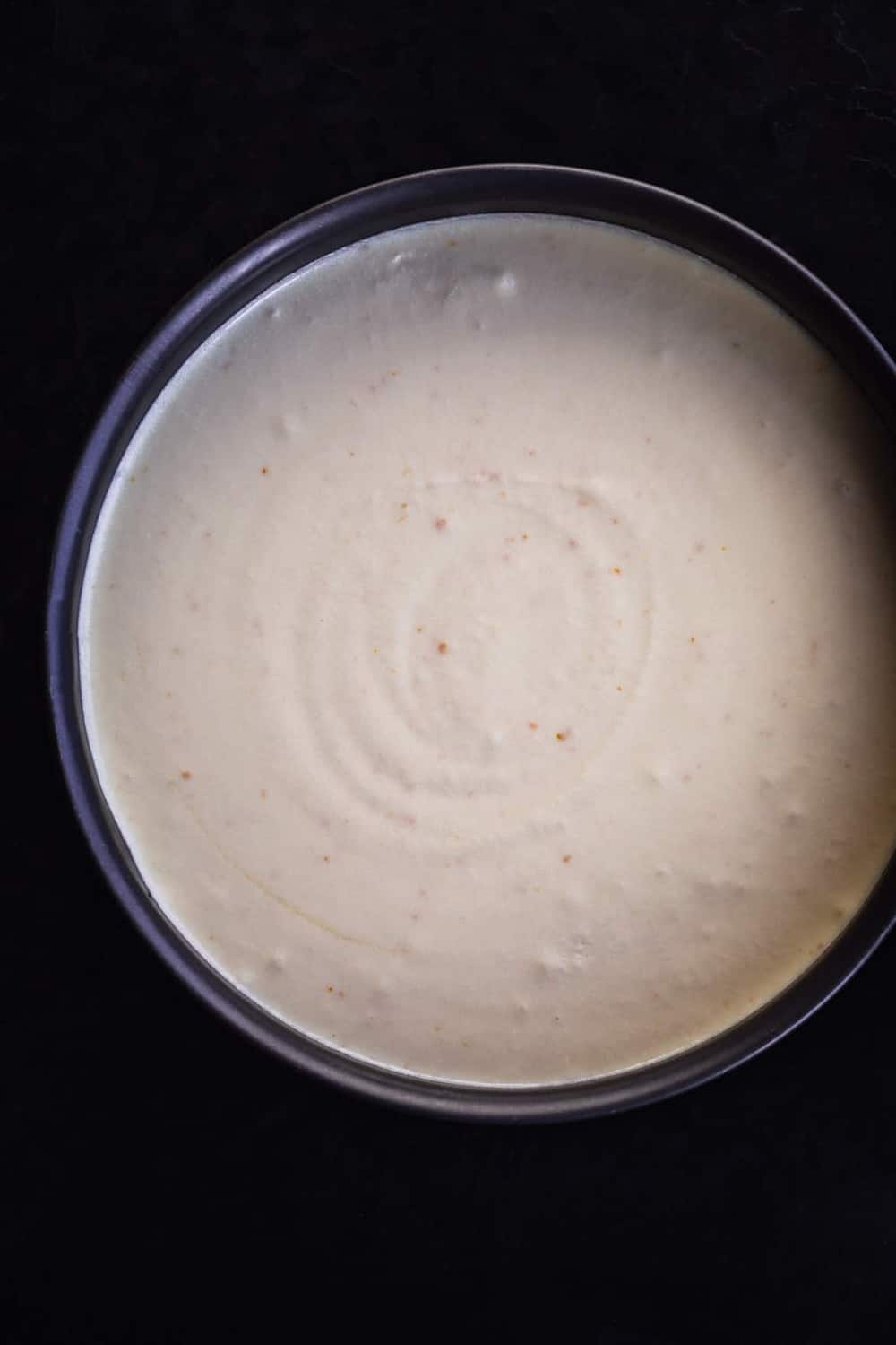Amaretto & Mascarpone Cheesecake batter in the springform pan, pre oven.