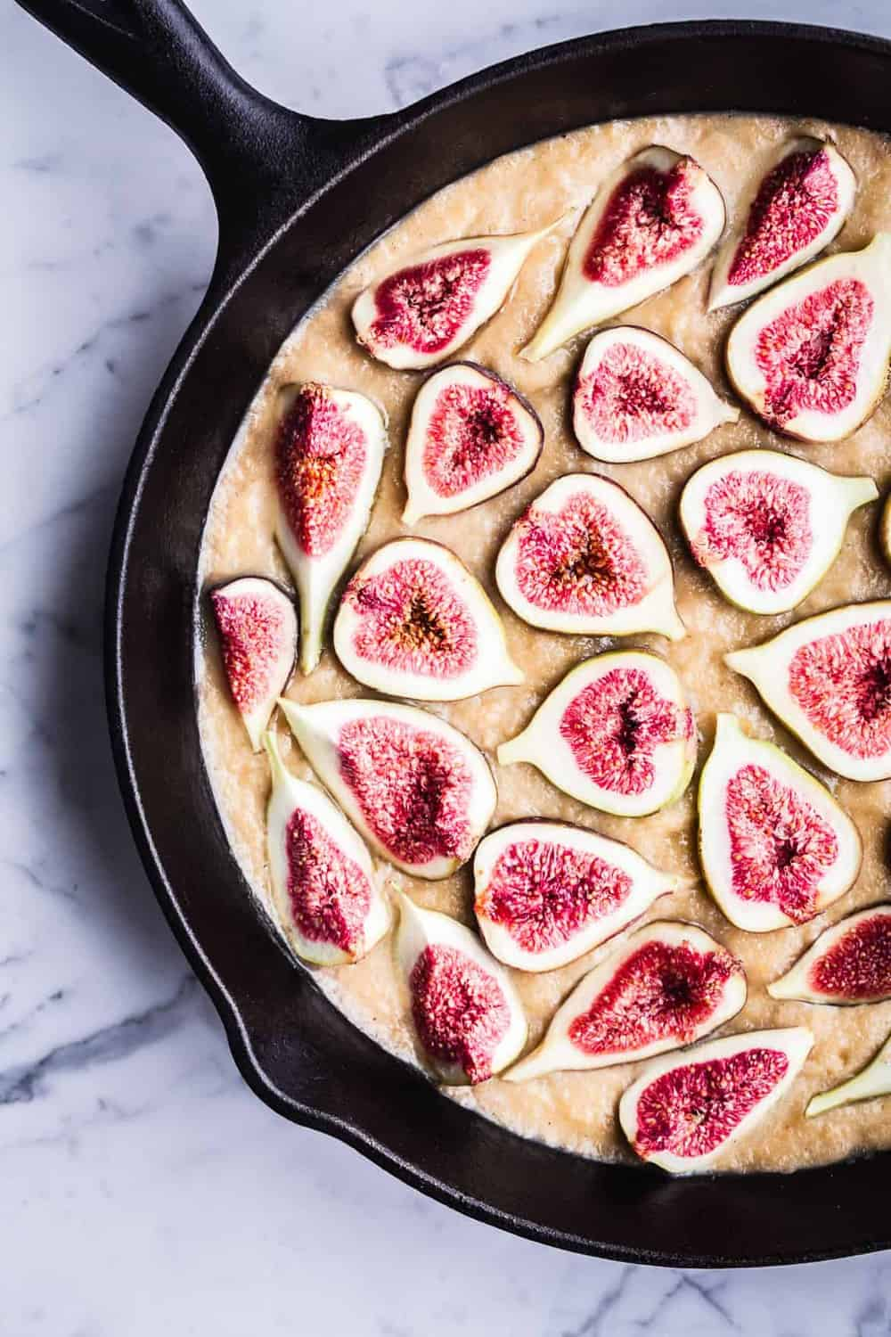 Fig Skillet Cake all ready for the oven, overhead shot.