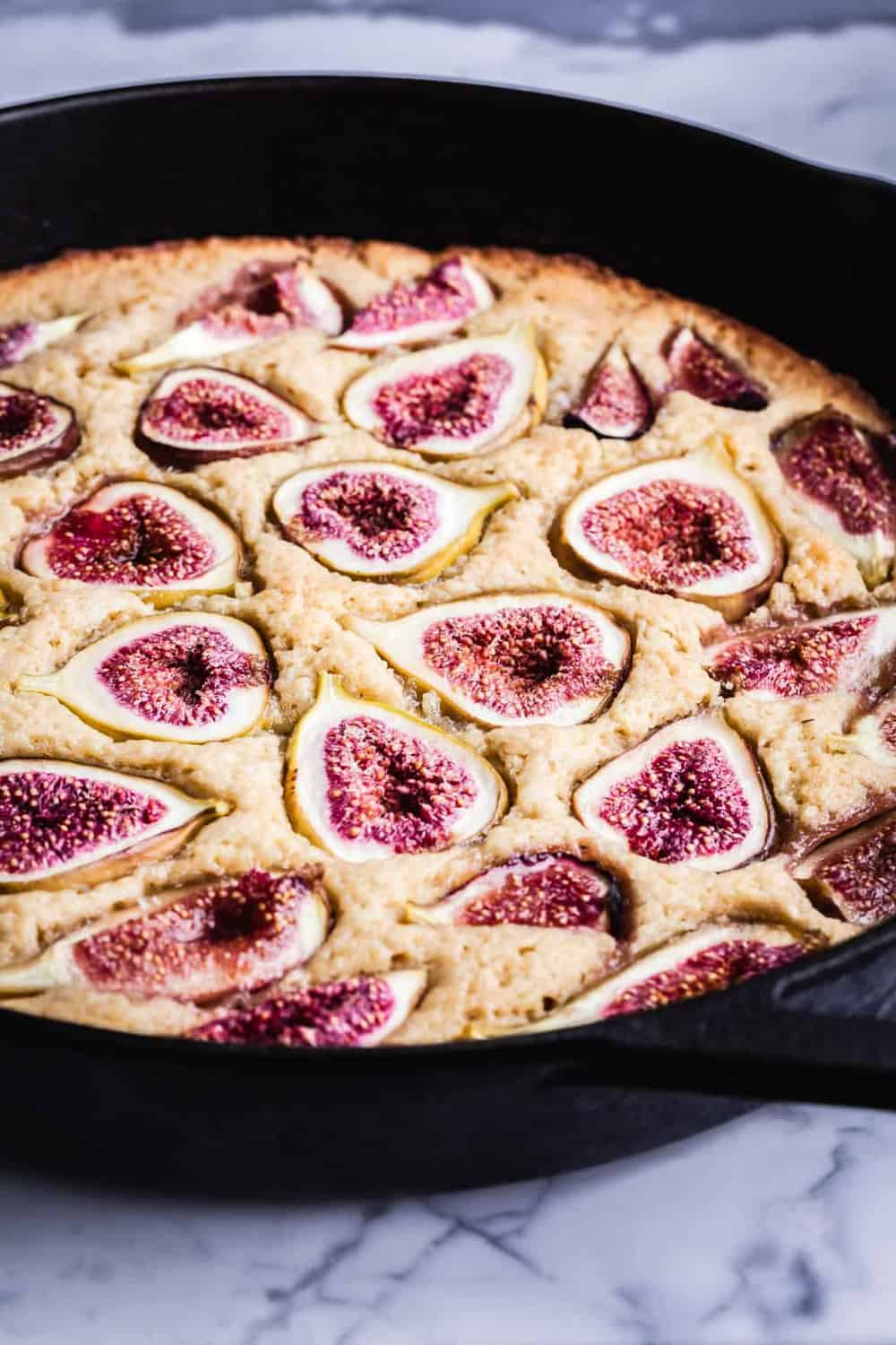Fig skillet cake just out of the oven, side-angle shot.