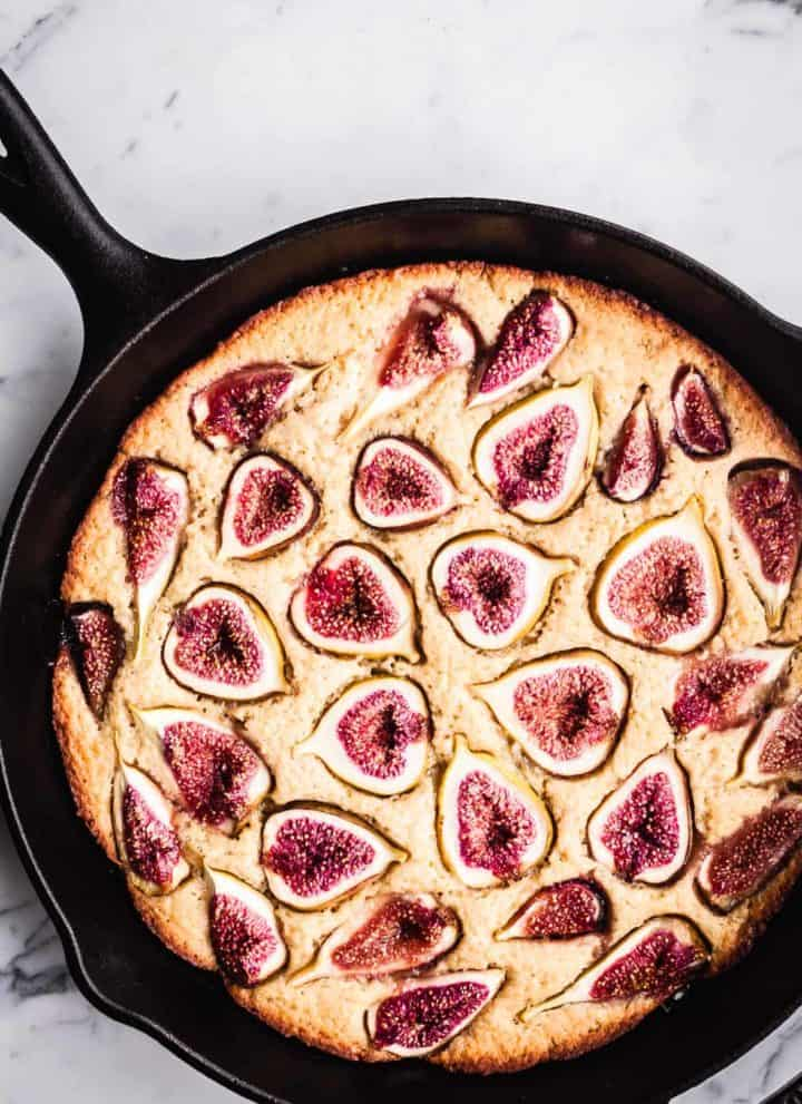 Fig Skillet Cake just out of the oven, overhead shot.