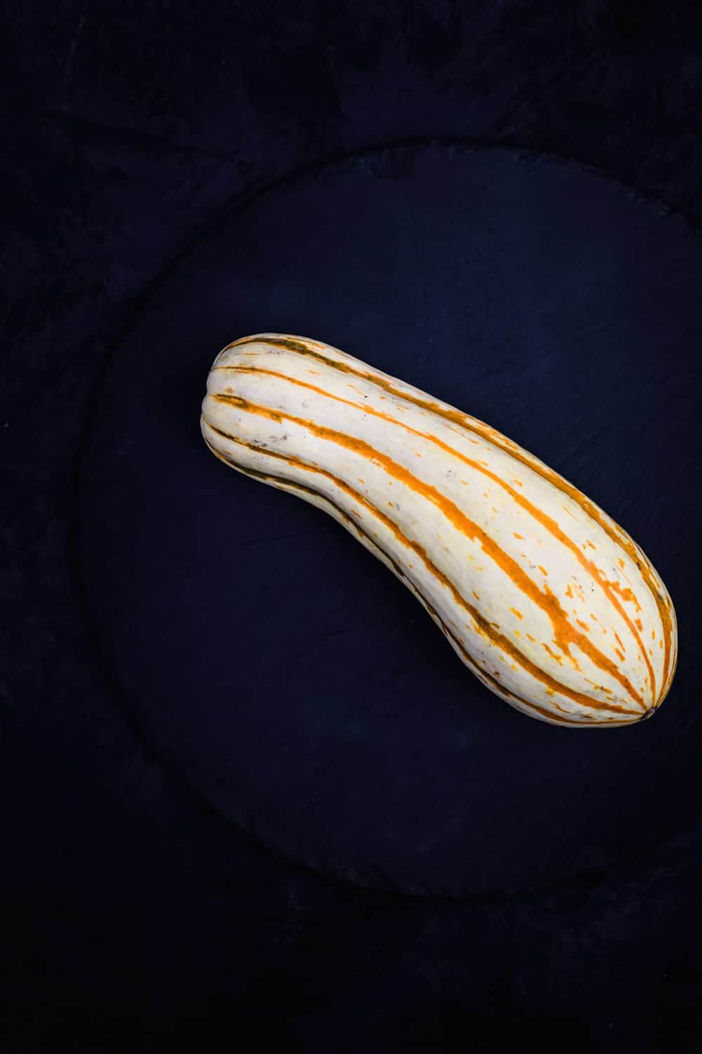 1 Delicata Squash, on a black slate, on a black background. Overhead shot.