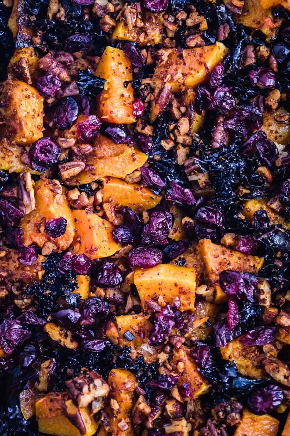 The kale, roasted squash, spiced pecans and dried cranberries.