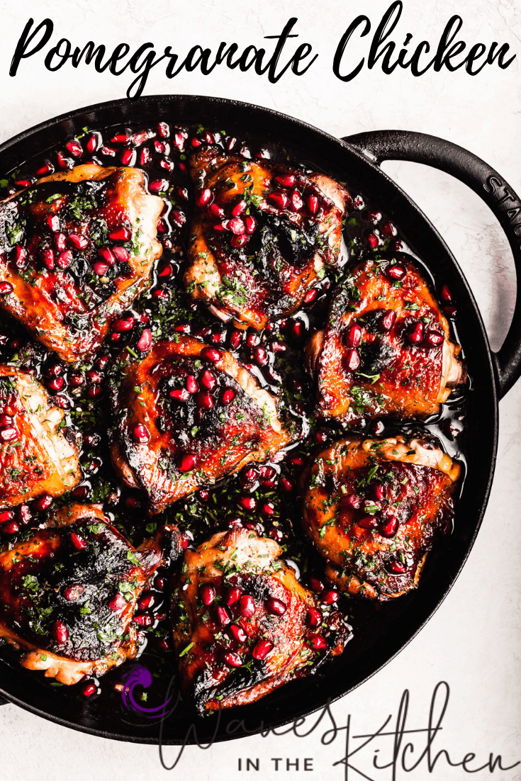 Pomegranate Skillet Chicken, out of the oven and all done, with pomegranate arils and parsley sprinkled on top.