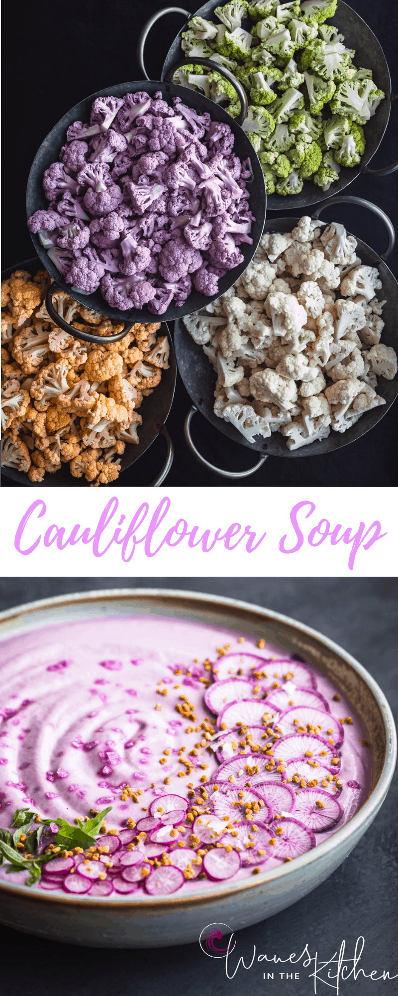 Yellow/Orange, Purple, White, and Green Cauliflower on top and the finished roasted purple cauliflower soup on the bottom.