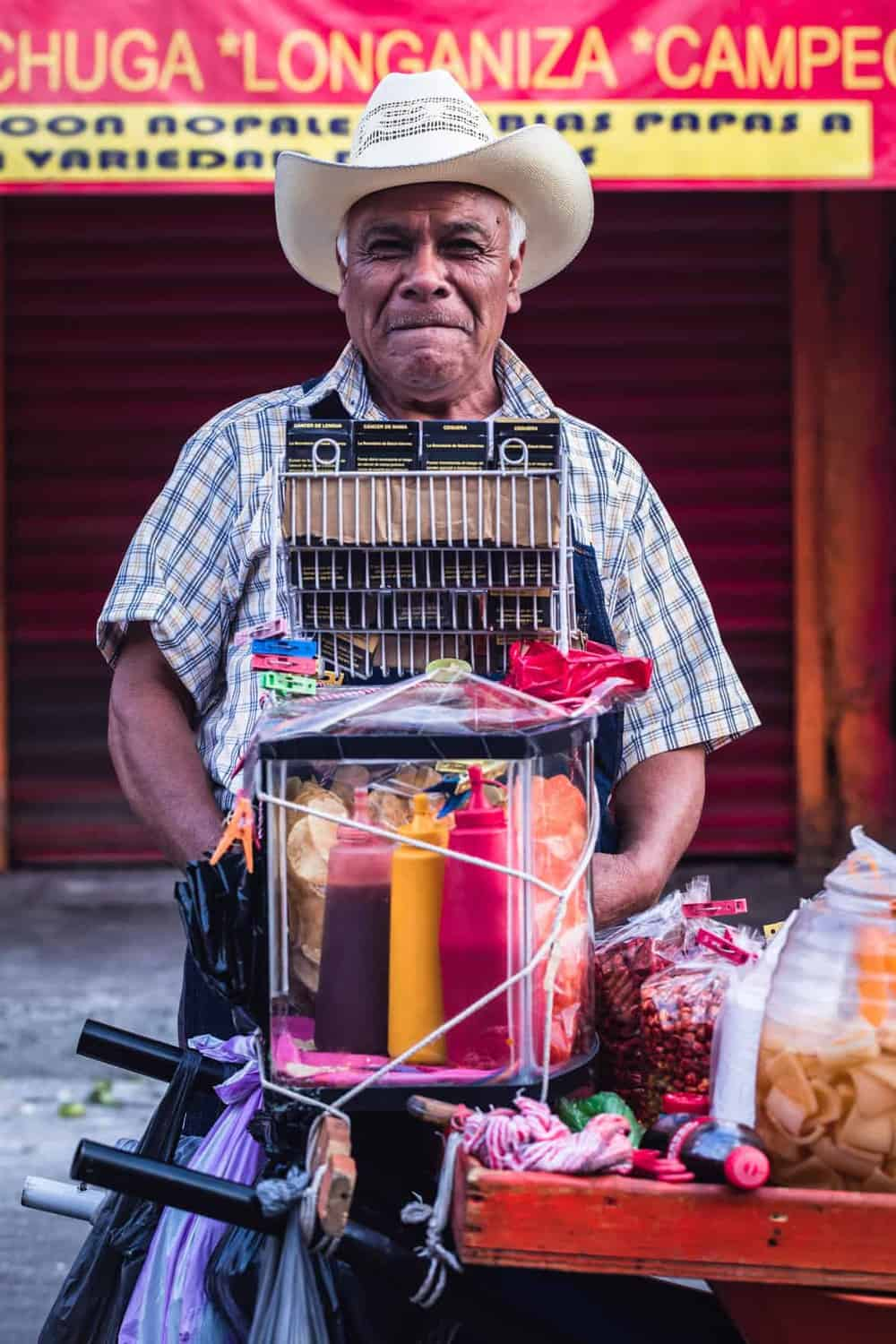 A man selling street food in Mexico City.