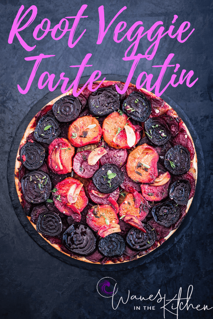 Root Vegetable Tart Tatin with fresh herbs and garlic.
