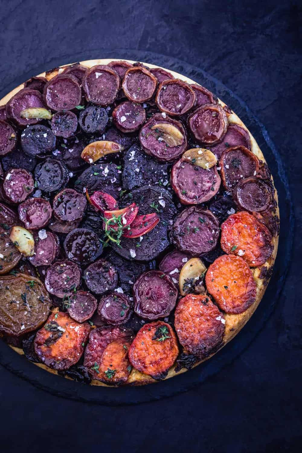 Rustic Rainbow Root Vegetable Tarte Tatin with fresh herbs and garlic all done.