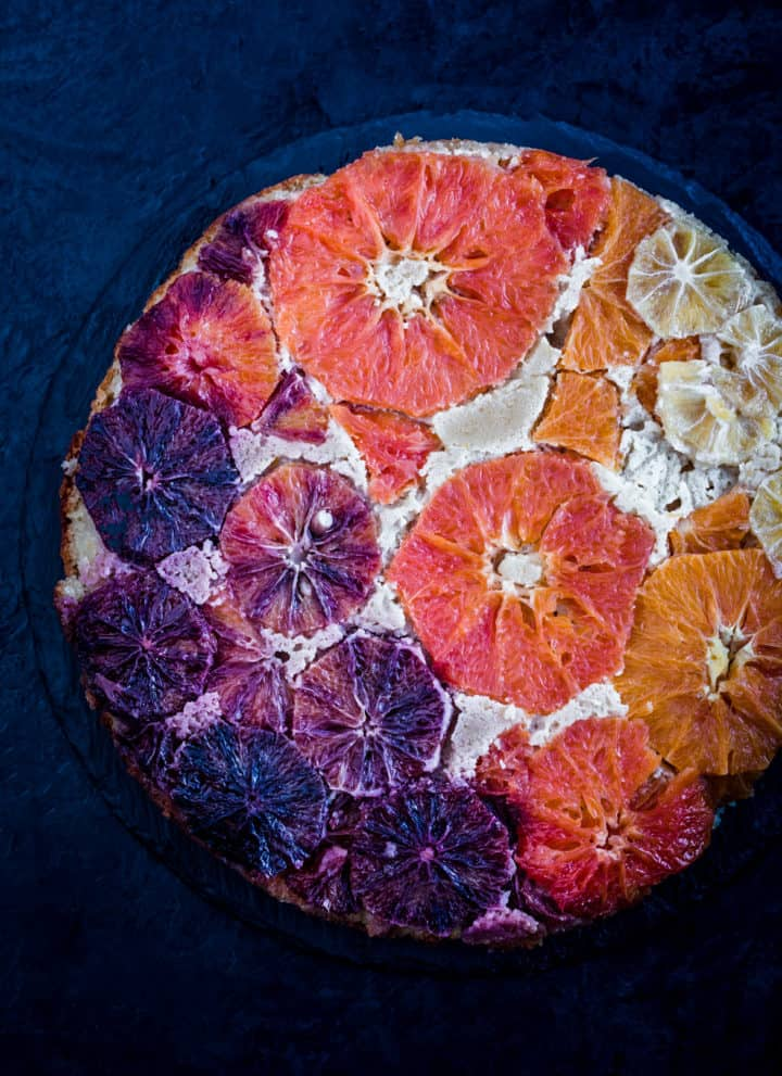 Winter Citrus Upside Down Cake, all done, arranged in a rainbow.