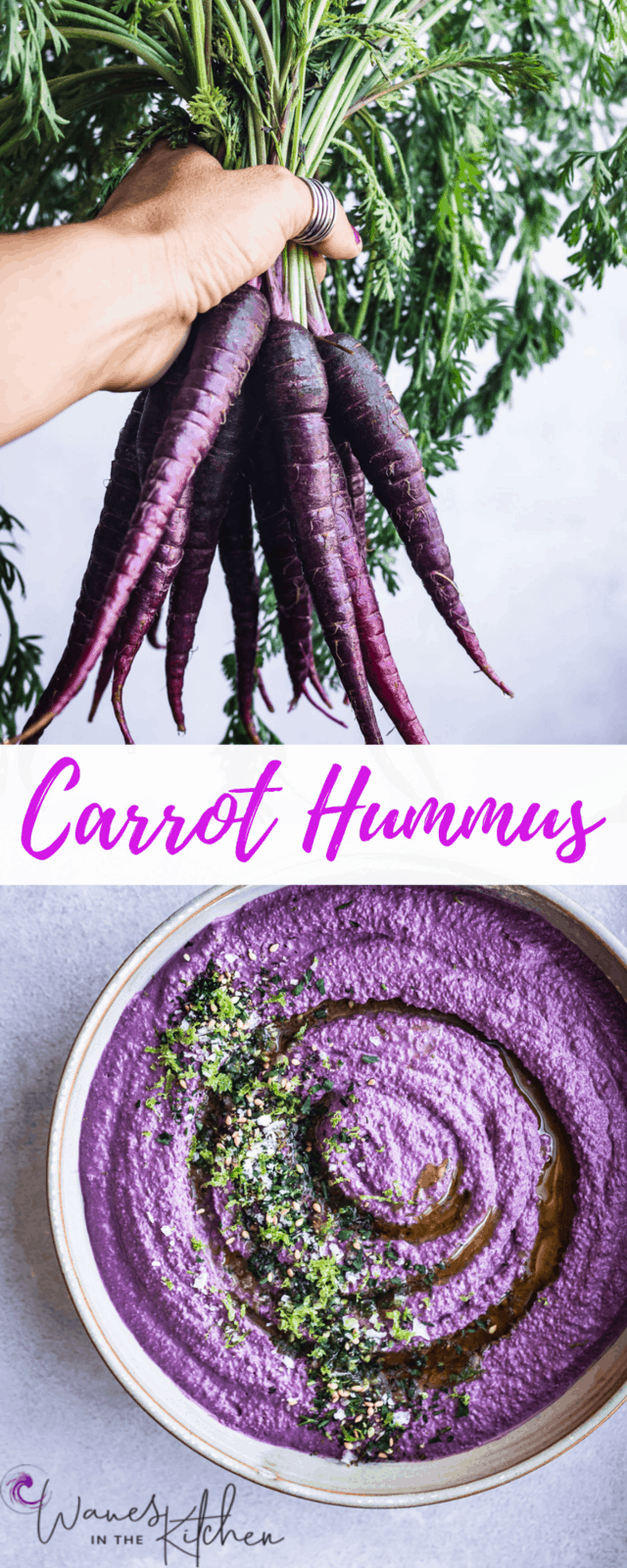 Holding a bunch of dragon carrots on top, and the dragon carrot hummus on the bottom.