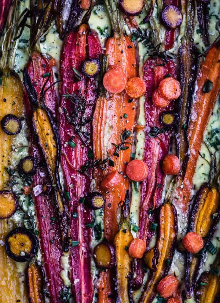 The roasted carrot tart, up close shot of the filling.
