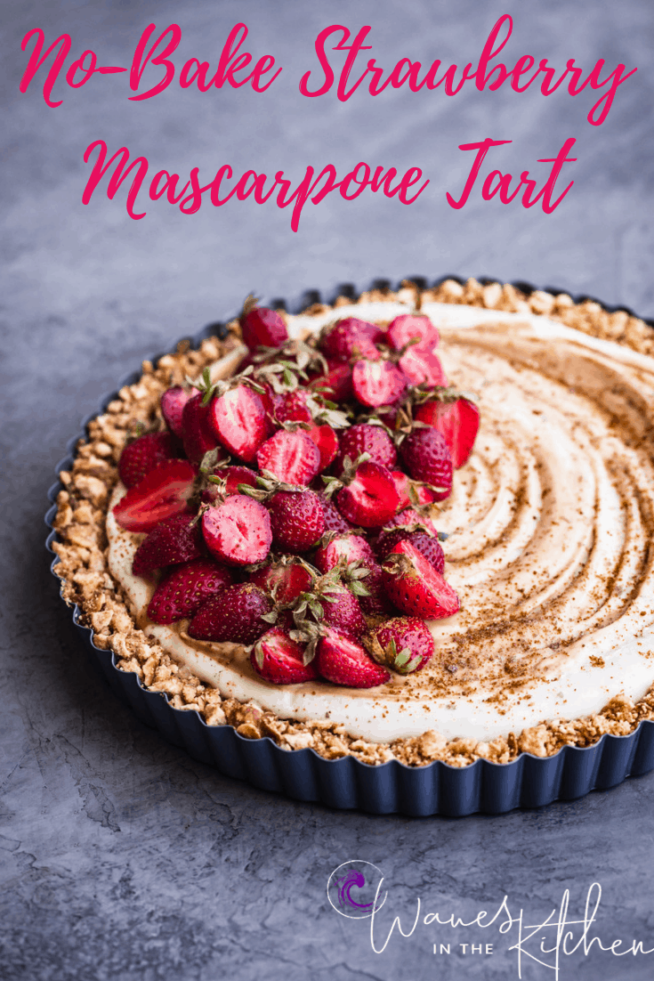 No-Bake Strawberry Mascarpone Tart with a date syrup drizzle and chocolate salt, side angle shot on a grey background.