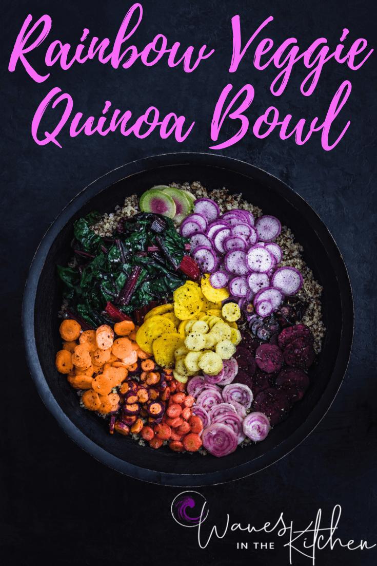 Veggie Rainbow Quinoa Bowl with Ginger Tahini Drizzle, side angle shot.