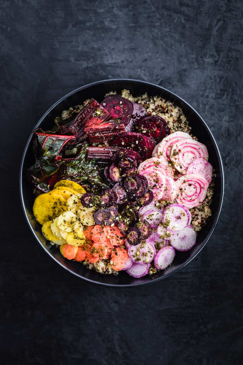 Veggie Rainbow Quinoa Bowl sprinkled with za'atar, no drizzle.