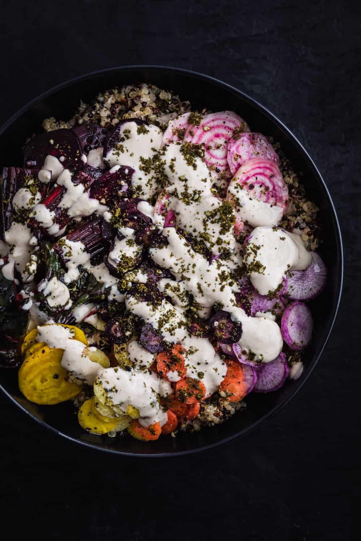 Veggie Rainbow Quinoa Bowl with Ginger Tahini Drizzle.