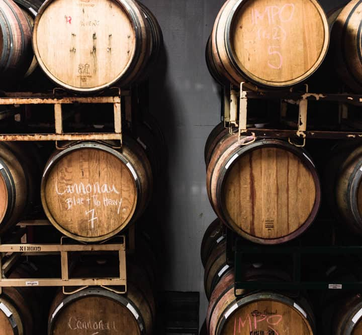 Another shot of the oak barrels aging the wine at Davero's biodynamic farm and winery.