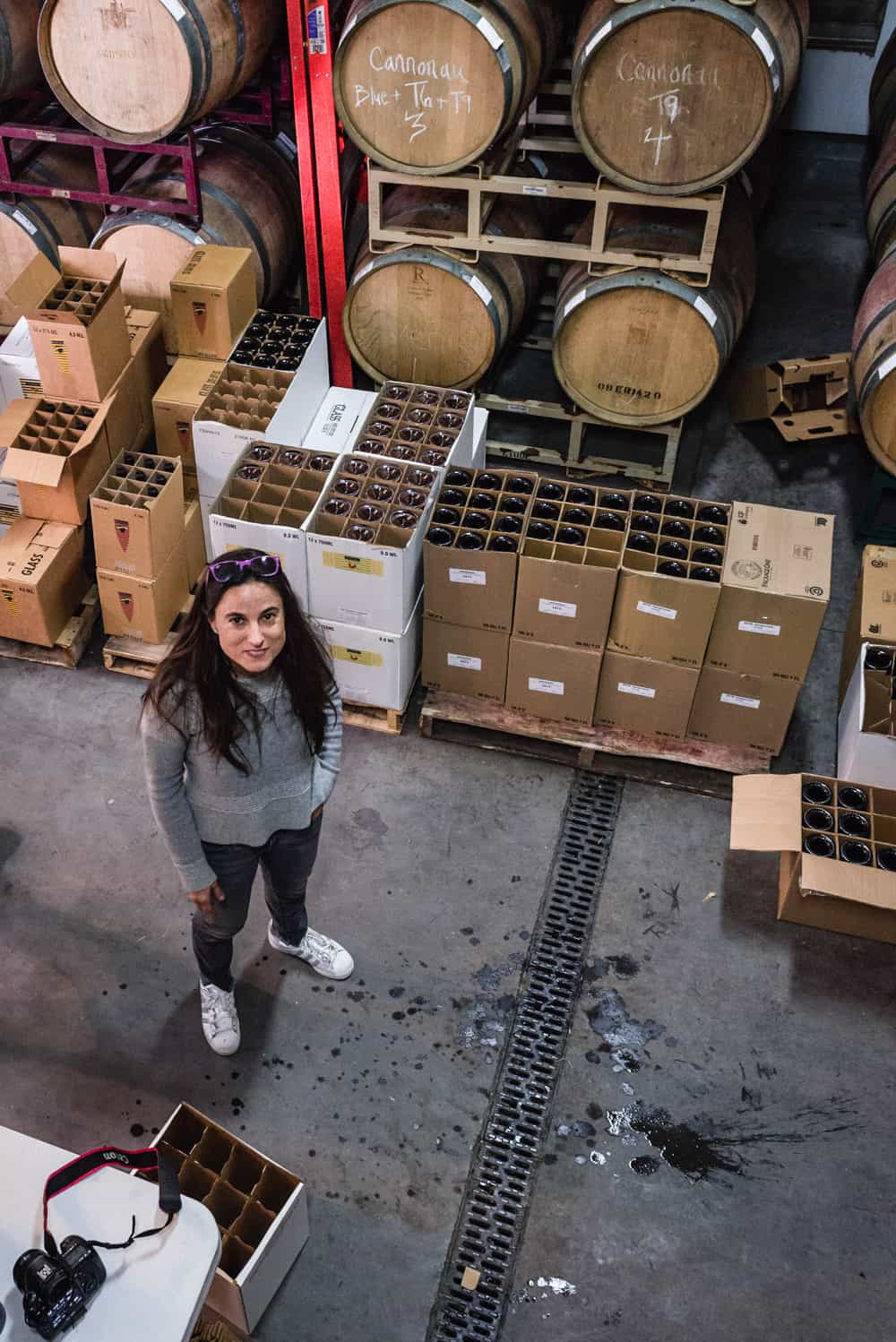 Being the scenes shot of me looking goofy in the wine storage room.
