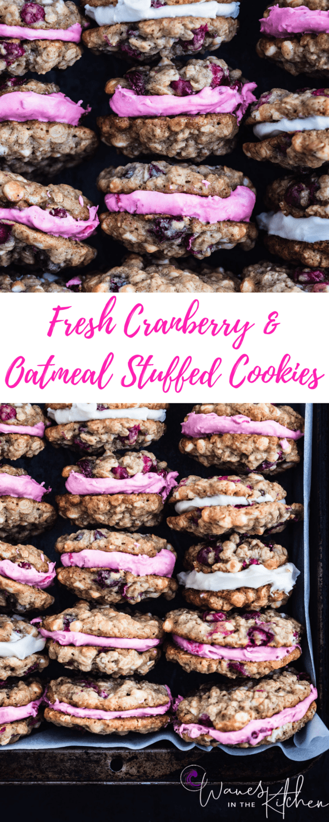 Fresh Cranberry, White Chocolate & Oatmeal cookies, stuffed with either cranberry cream cheese or vanilla mascarpone, staked up.