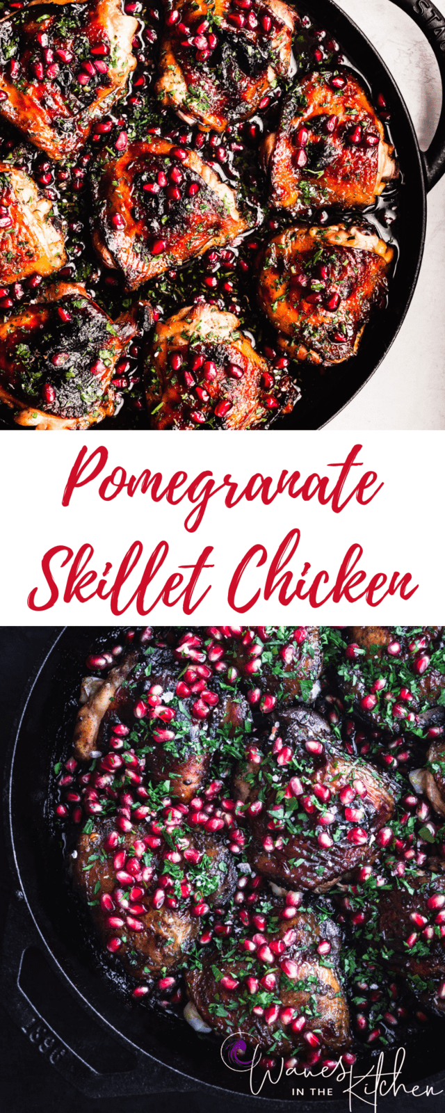 Pomegranate Skillet Chicken, out of the oven and all done, in a cast iron skillet on white background. Overhead shot with the left side cut off. On Top. | Pomegranate Skillet Chicken, out of the oven and all done, in a cast iron skillet on a black background. Overhead shot with the right side cut off. On the bottom.