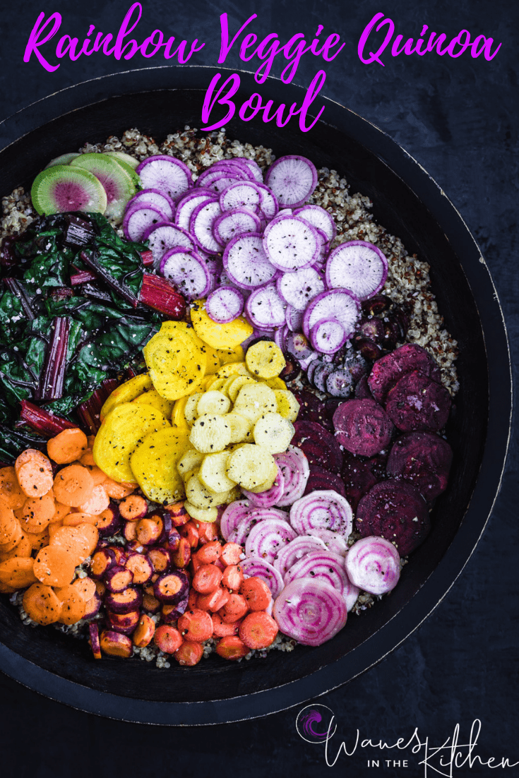 Veggie Rainbow Quinoa Bowl all done, without any drizzle, overhead shot.