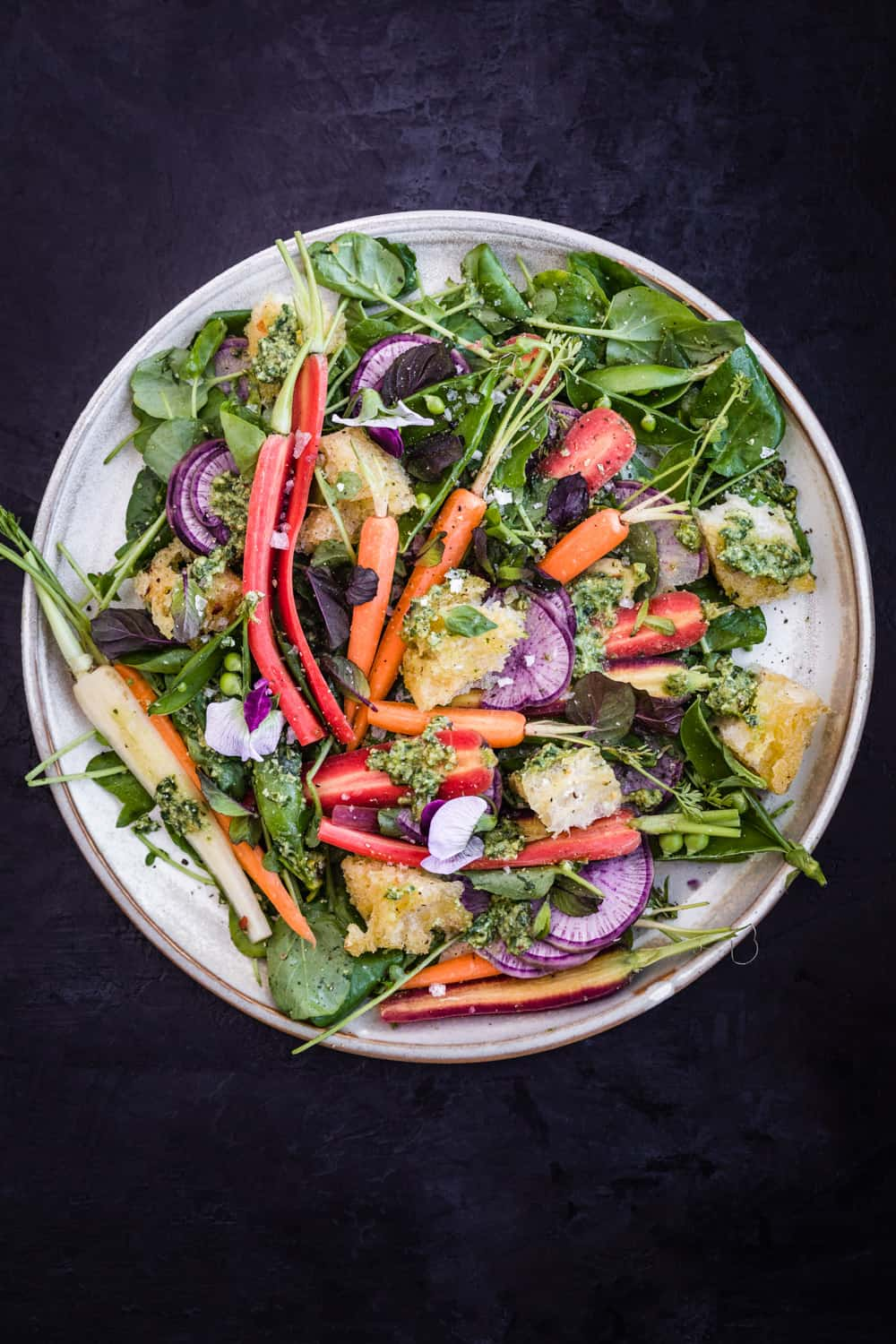 Spring Salad with Carrot Top Pesto, Snap Peas & Garlic Croutons all done!
