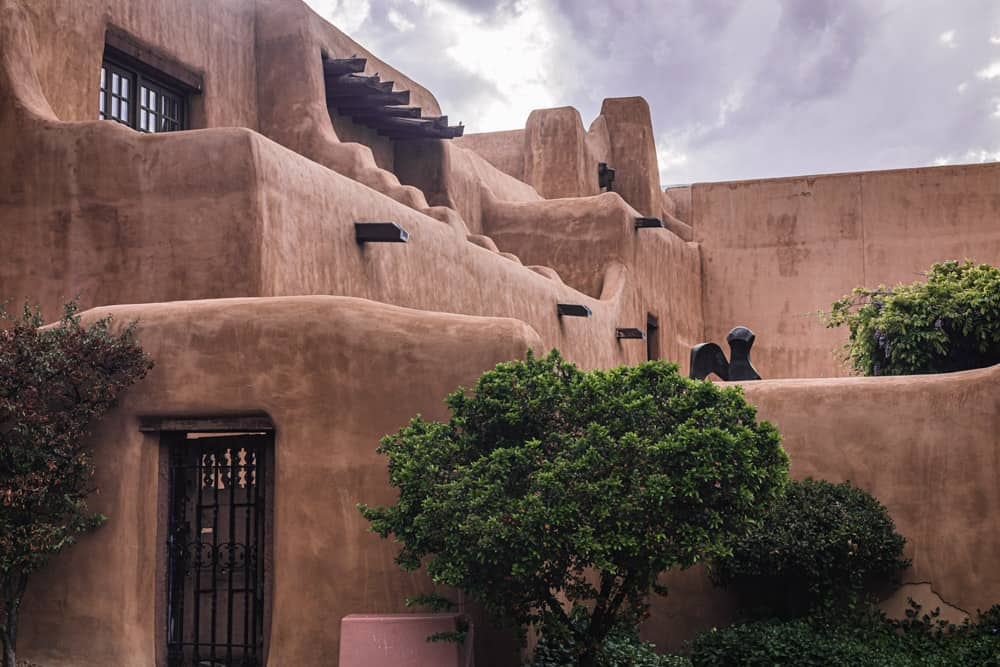 Adobe building built in traditional Santa Fe style.