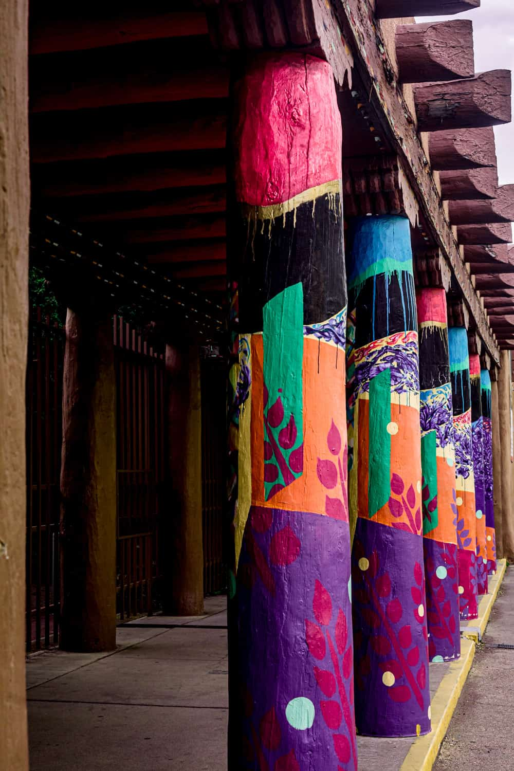Colorful pillars by the plaza in Santa Fe.