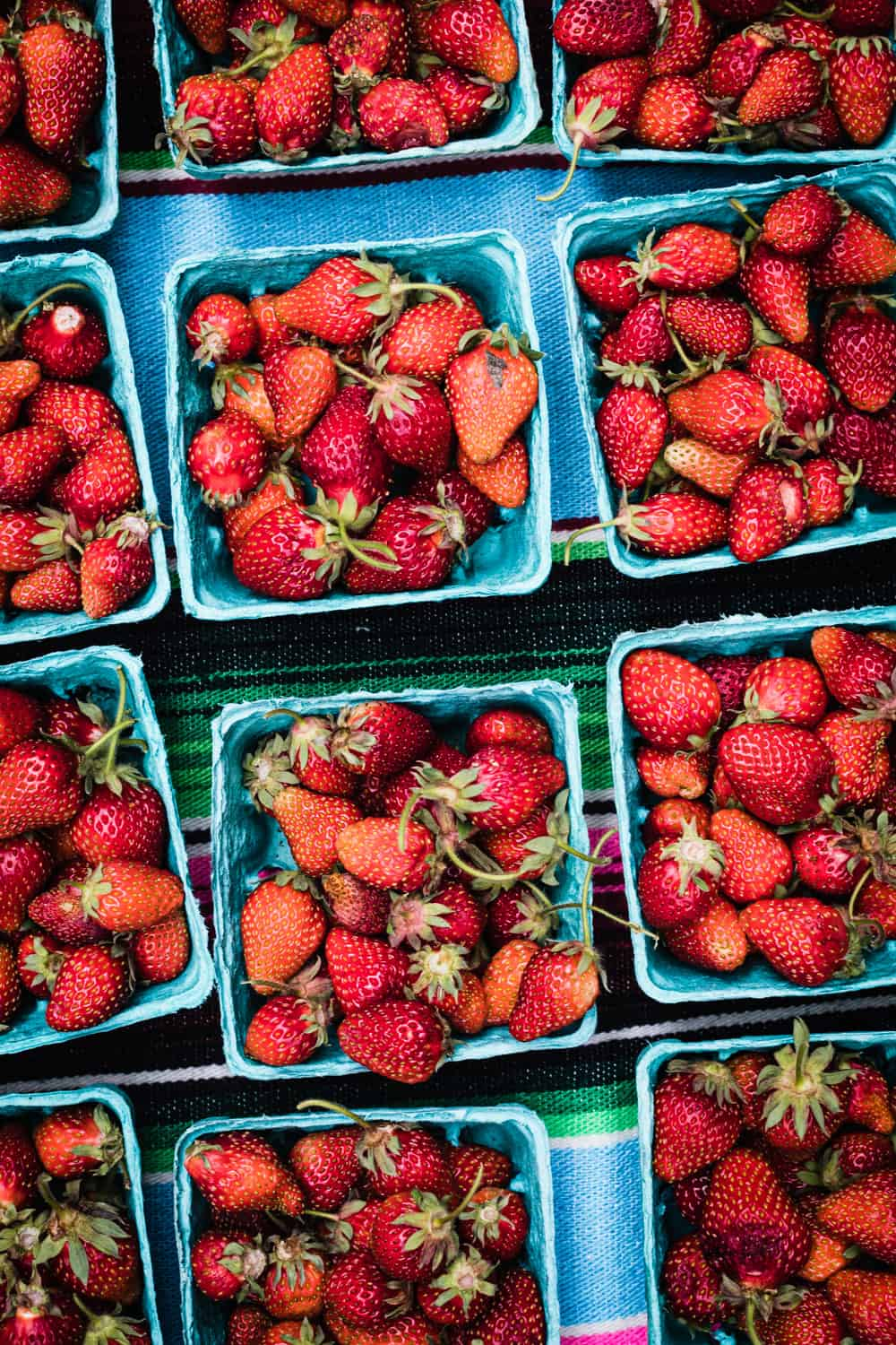fresh strawberries at the Santa Fe Farmers Market.