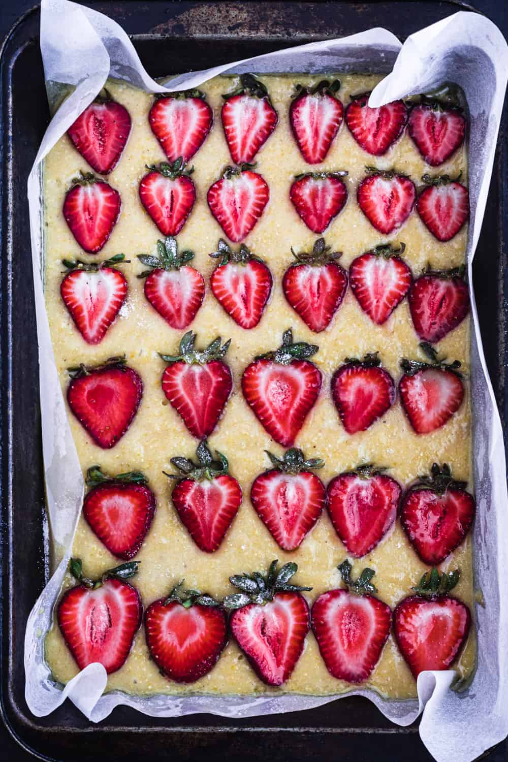 Up close, overhead shot of the strawberry snack cake, straight out of the oven.