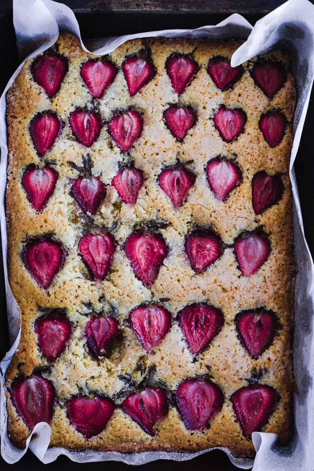 Strawberry snack cake straight out of the oven.