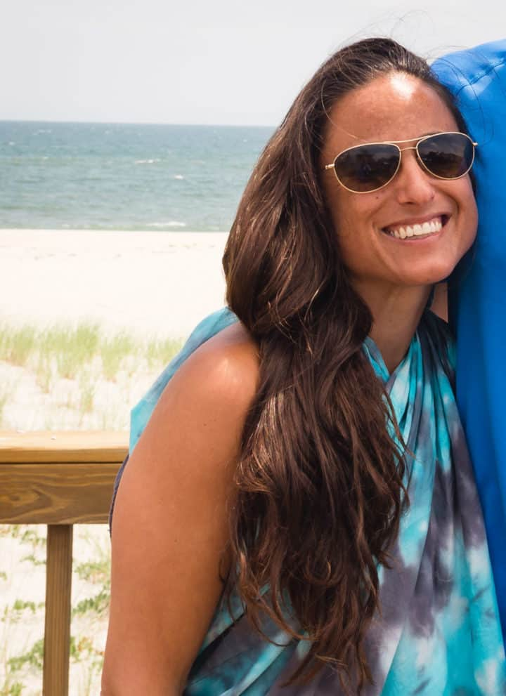 Chef Daniela Gerson in the Hamptons on the beach