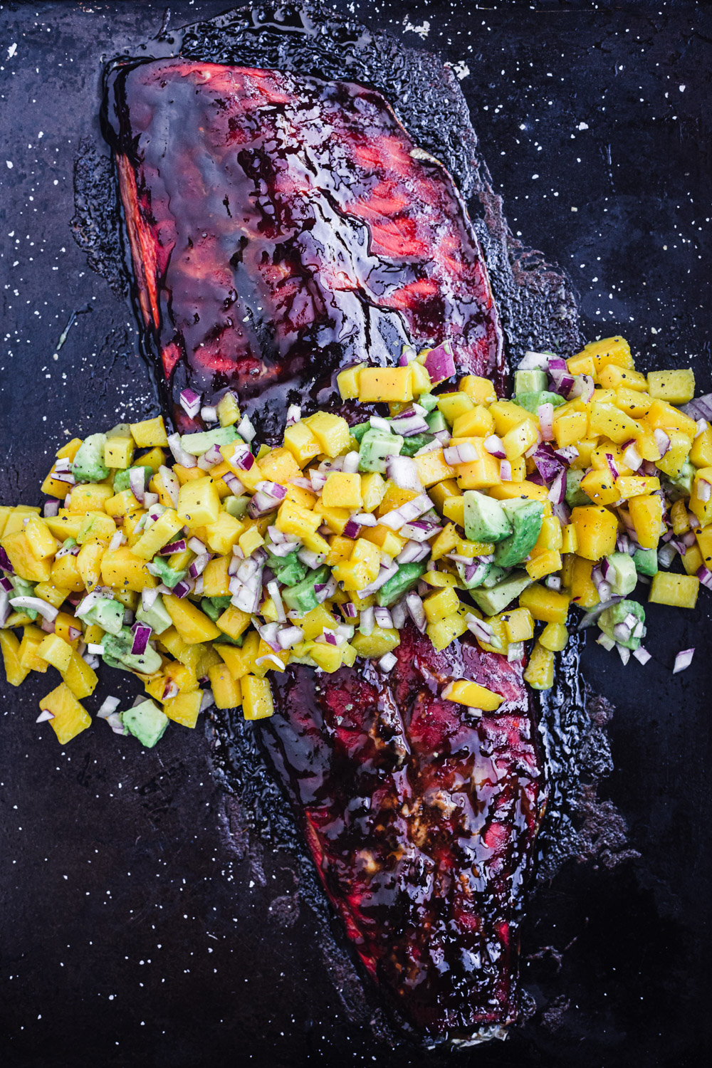Salsa negra salmon with a mango-avocado salsa.