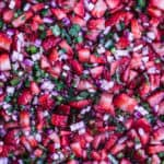 the finished strawberry salsa recipe, overhead shot.
