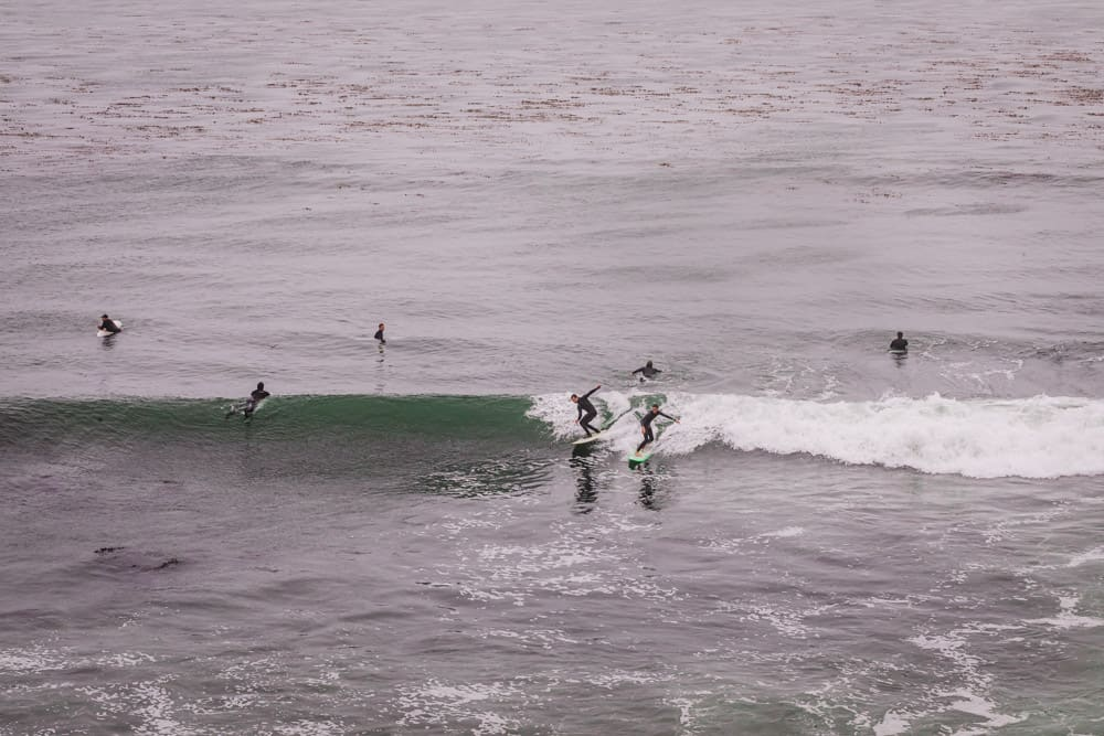 2 surfers sharing a wave at the Hook, a wave in Santa Cruz