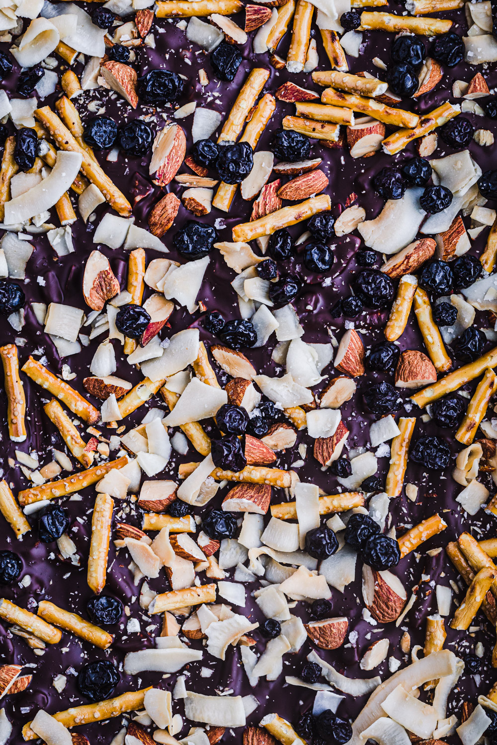 Chocolate bark with almonds, coconut flakes, dried cherries, pretzels, and flaky sea salt.