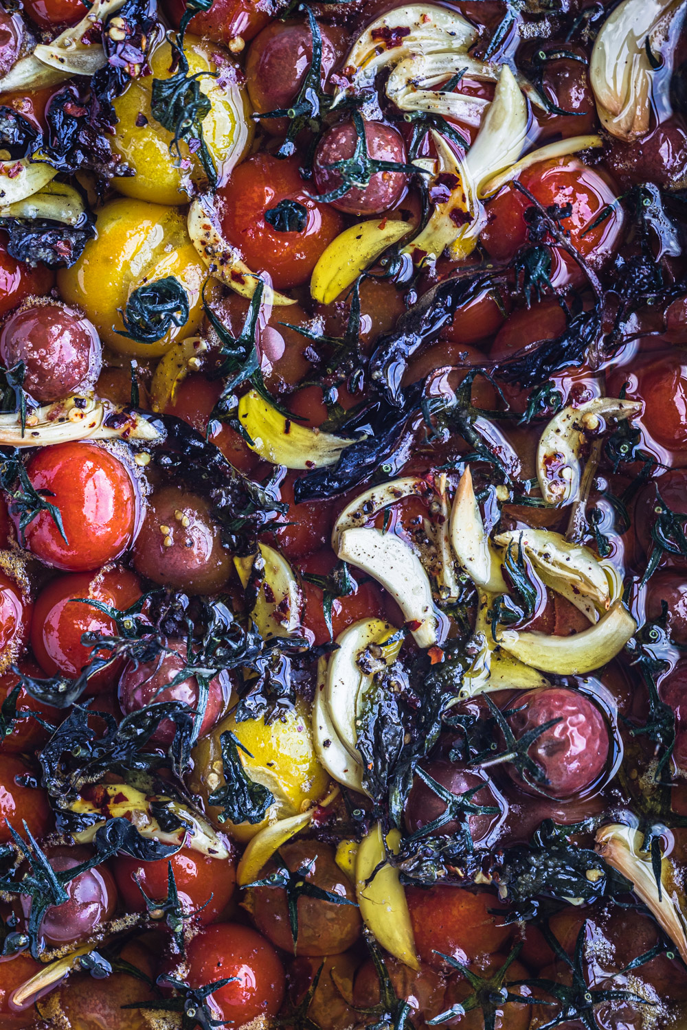 Cherry Tomato Confit in lots of olive oil. Post oven.