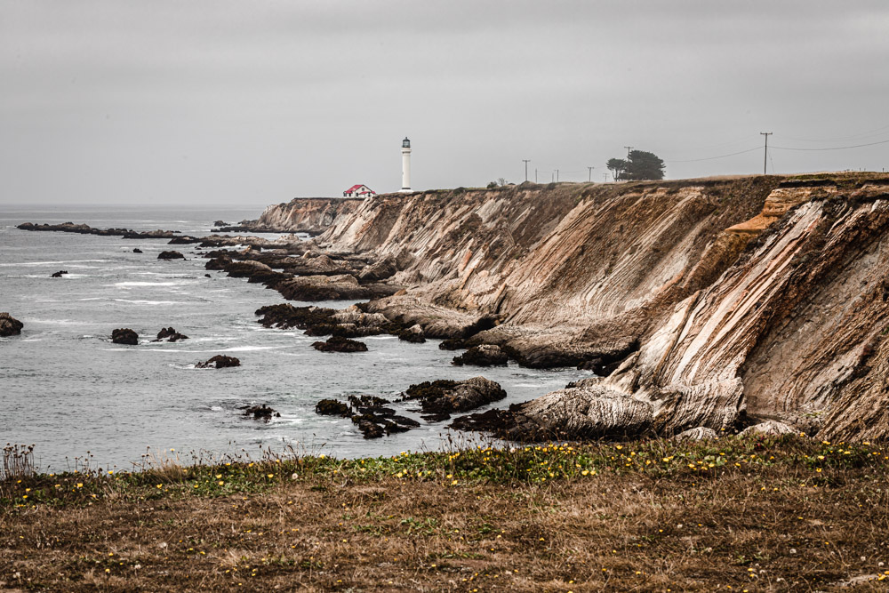 The historic Point Cabrillo Lighthouse, situated between Point Arena and Mendocino.
