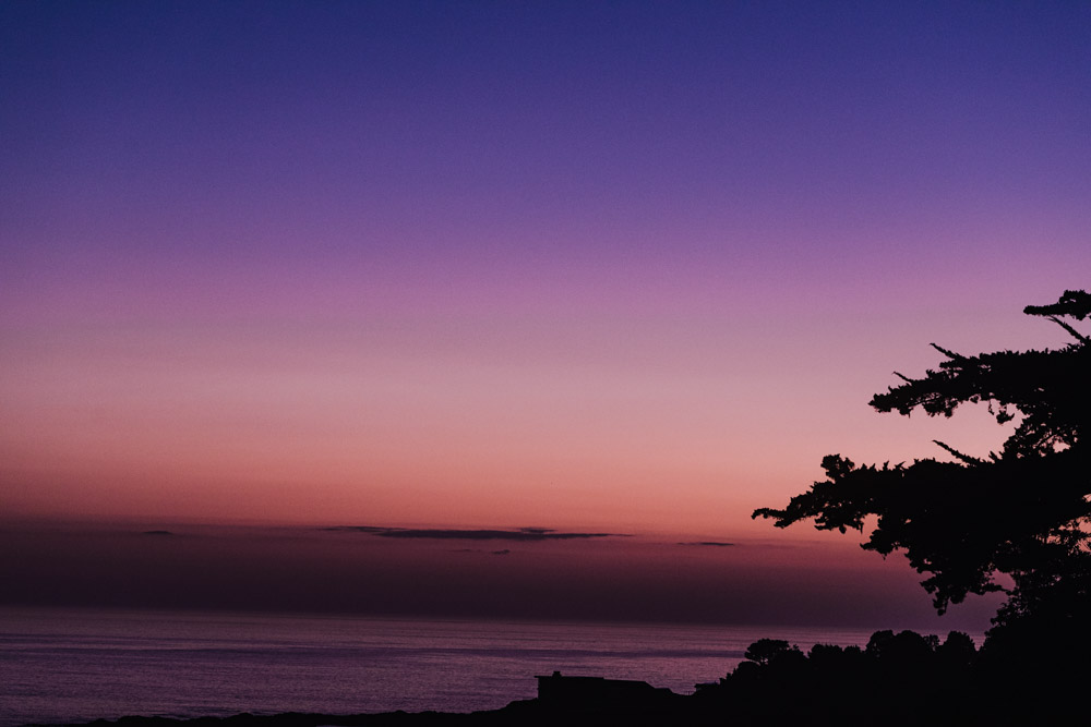 The pink-purple-blue sunset at seen from the Little River Inn.