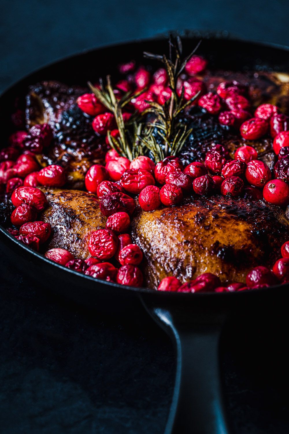 cranberry chicken in a skillet post oven, side angle shot
