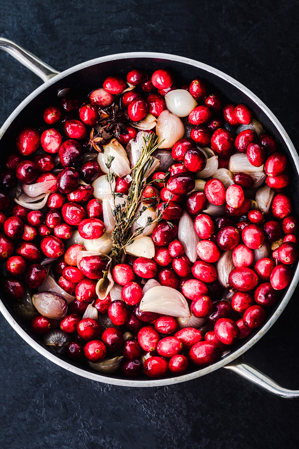 Shallot mixture topped with cranberries.