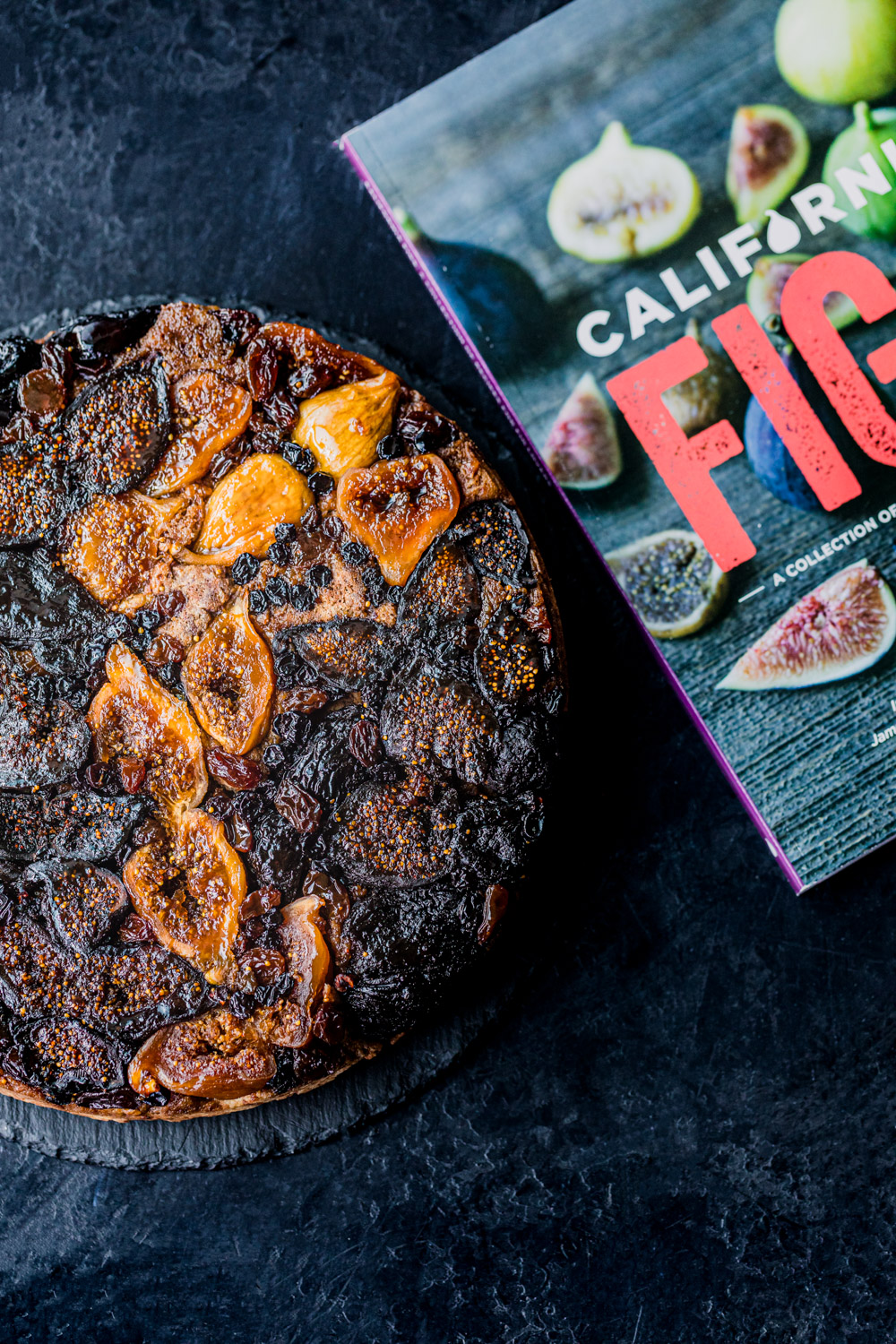 dried fig cake shot next to the California Figs book