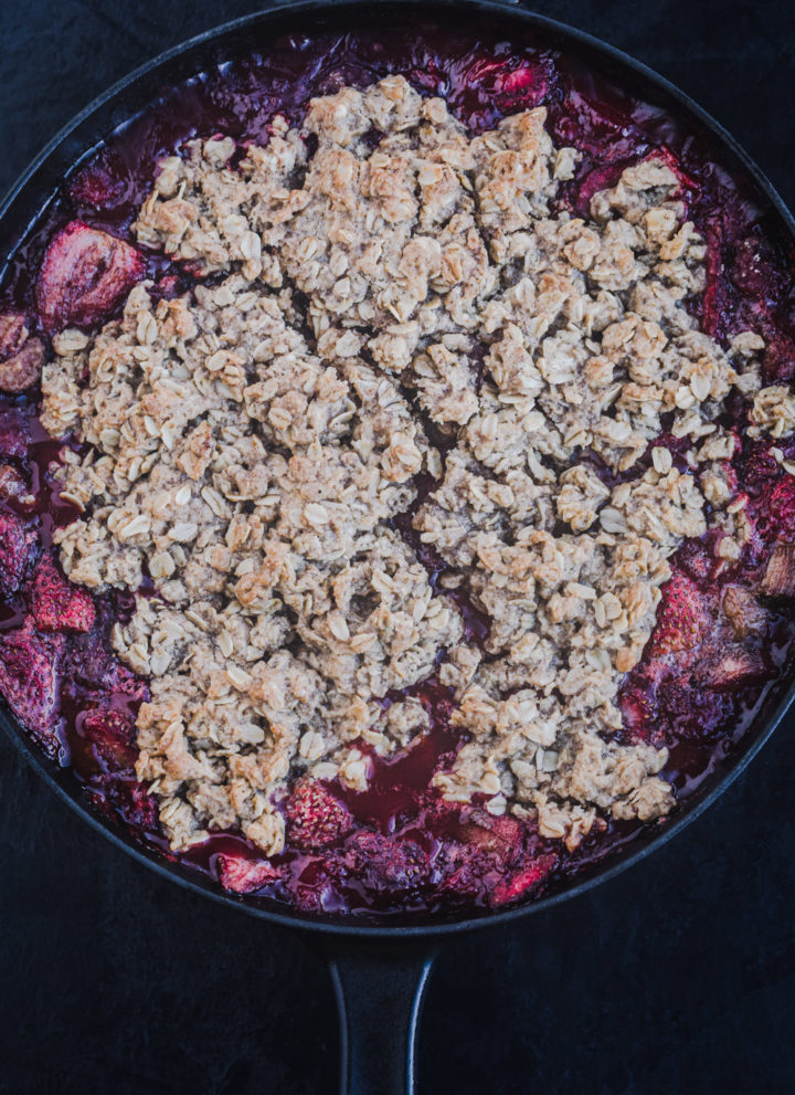Strawberry-rhubarb crisp, just out of the oven, overhead shot.