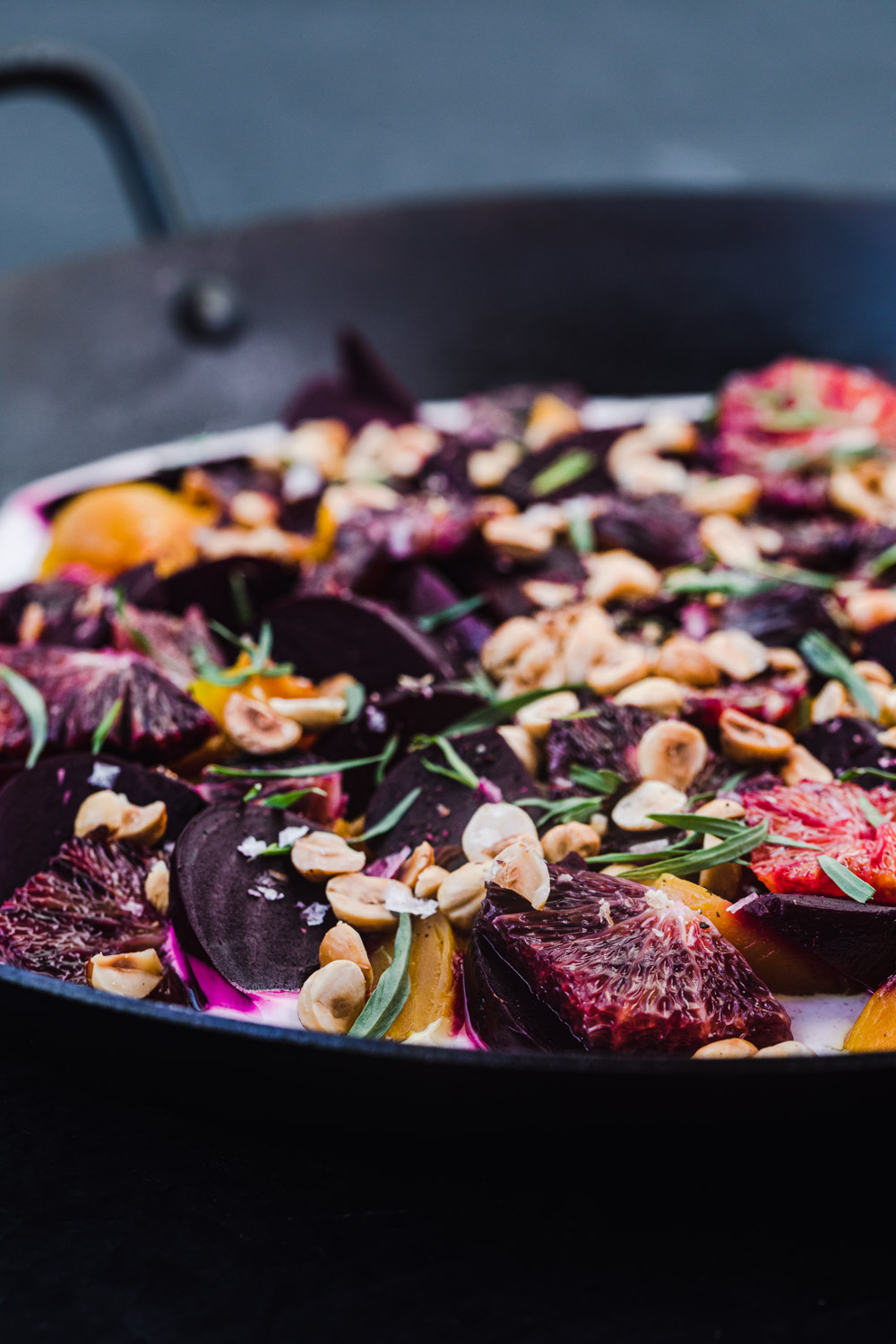 Roasted beet salad, side angle shot, all done and ready to be eaten.