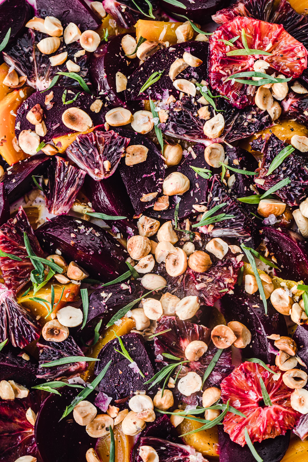 Finished beet salad dish, overhead and up close shot.