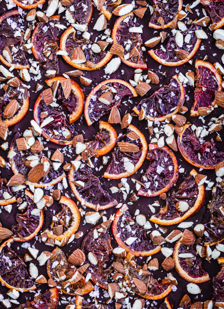 Chocolate Bark with Candied Citrus, Almonds and Flaky Sea Salt.