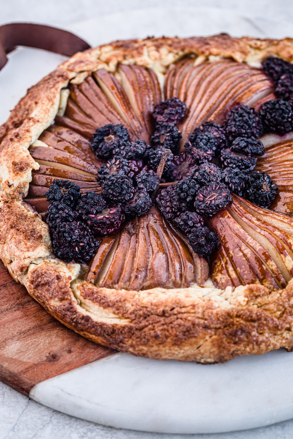 Pear & Blackberry Galette, side angle shot.